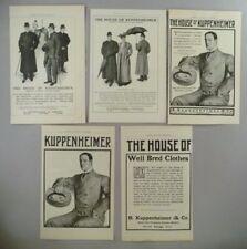 House of Kuppenheimer LOT of 5 PRINT AD - 1905 ~~ Men's Clothing, Fashion