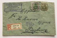 Dt. Reich Infla Einschreiben Mi. Nr. 147+ 150 , Schuhaus Berlin n. Siegburg 1922