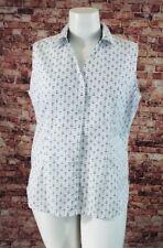 Basic Edition White Blue Printed Sleeveless Shirt Blouse Top Size XL