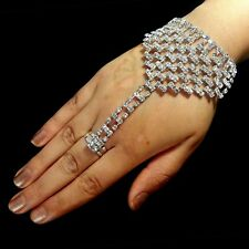 Bollywood Hand Decoration Ring Slave Bracelet Rhinestone Silver Wedding Bridal