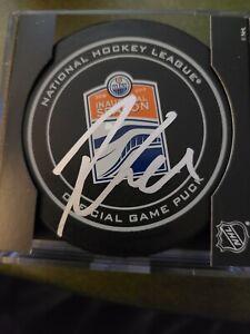 Leon Draisaitl signed Rogers Inaugural Season puck Edmonton Oilers