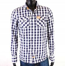 S SUPERDRY MENS FITTED DARK BLUE CHECKED SHIRT INT M