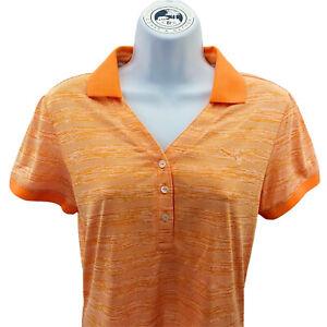 PUMA GOLF Women's Dry Cell Polo Shirt Sz S Short Sleeve Coral Orange Striped NWT