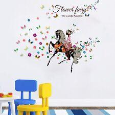 Flowers Fairy Butterflies Wall stickers Wall Decals Kids Home Decor Mural DIY