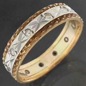 Fancy 1975 London 12 Spinel 9k Solid Yellow White GOLD ALL AROUND BAND RING Sz P