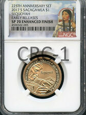 2017 S Enhanced Sacagawea $1 Sequoyah 225th Anniversary Set E.R. NGC SP70 E.F.