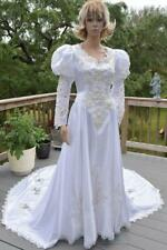 Vtg 90s Alfred Angelo Pearl Sweetheart Cathedral Train Renaissance Wedding Dress
