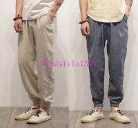 New Mens Retro Trousers Ankle Banded Cotton Linen Bloomers Harem Pants Loose Fit