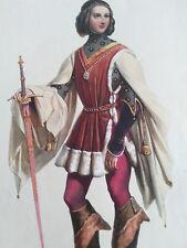 ACHILLE DEVERIA 1800-1857 COLORFUL XXL LITHOGRAPHY NOBLE ALLEMAND AU XIV SIECLE