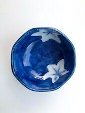 TAKAHASHI BLUE TRINKET DISH WITH WHITE LEAVES - JAPAN - VINTAGE