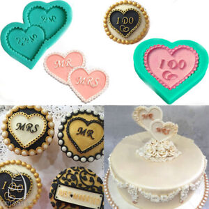 Heart Letter Silicone Fondant Mould Baking Chocolate Cake Topper Sugarcraft Mold