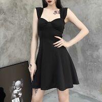 Sexy Women Flared Pleated Dress Shoulder Strap Mini Dresses Cocktail Club Dress