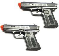 2 x Spring Airsoft Gun Pistol Police Toy Air Sport Hand Gun 6mm BB BBs (Grey)