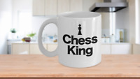 Chess King Piece Mug White Coffee Cup Funny Gift for Gamer, Grandmaster,
