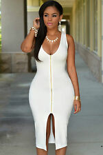 Abito aperto Nudo aderente Zip scollo spacco Nude Zipper Midi Dress clubwear