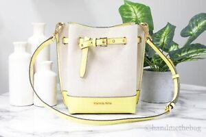 Michael Kors Emilia Small Canvas Snake Print Yellow Leather Bucket Messenger Bag