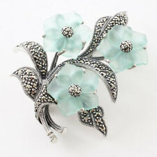 925 Sterling Silver Pin Brooch Marcasite Leaf & Dyeing Green Crystal Flower