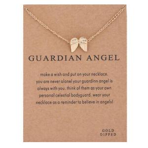 Wish Necklace GUARDIAN ANGEL Short Pendant Jewelry Women Gift Angel Wing