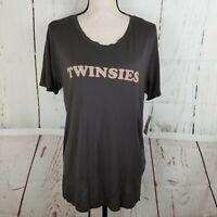 PST by Project Social T Women's T-Shirt Sz L Gray Tee TWINSIES