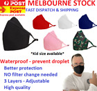 3 x Reusable Triple Layer Waterproof Adjustable Antimicrobial Unisex Face Masks