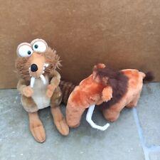 Ice Age MANNY The Mammoth 2002+ Scrat Squirrel Plush Soft Toy Teddy Bundle Large