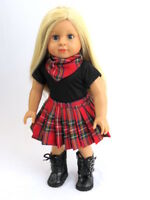 Plaid Skirt Red & Black 3 PC Set For 18 Inch American Girl Doll Clothes
