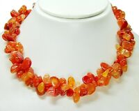 Außergewöhnlich schöne Halskette aus dem Edelstein Karneol zweireihig