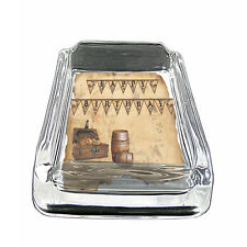 "Vintage Pirate Ship D1 Glass Square Ashtray 4"" x 3"" Smoking Cigarette"