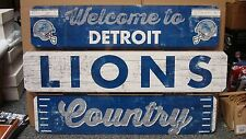 "DETROIT LIONS WELCOME TO LIONS COUNTRY WOOD SIGN 19""X30'' NEW WINCRAFT"