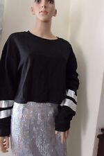 ASOS Cropped Sweatshirt  Top Holographic Stripe Sleeve  UK18 Black/Silver