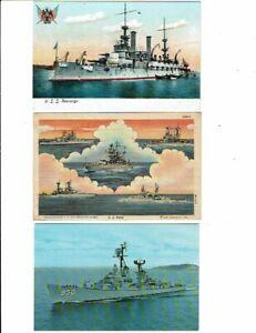 3 Card Military Lot, US Navy Ships, USS Kearsarge, Richard Edwards, Homesick!