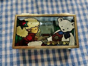 Stained Glass Beveled Glass Trinket Jewelry Box Mirror Bottom JBD  1994 BEAR