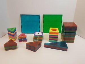 Huge Lot Of Magna-Tiles Clear Colors Building Squares Genuine Valtech Blocks