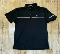 Travis Mathew Men's Polo Shirt Size L Black Button Up Casual Golf Shirt Comco
