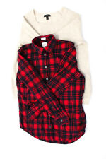 J Crew Womens Long Sleeve Blouse Tops Red Blue Beige Size XS S Lot 2
