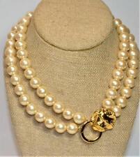 "Signed KJL for AVON Goldtone 2 Strands Faux Pearles LION Clasp 16"" Necklace"