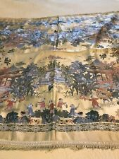 Jim Sheng China Brocaded Flowers Chinese Scenes Silk Tablecloth