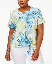 ALFRED DUNNER® Plus Size 2X  Blue Lagoon Embellished Tie-Front Top NWT