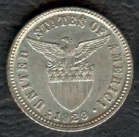 1929-M US Administration Philippines 10 CENTAVOS Silver Coin - Stock #3