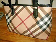 Burberry Supernova Check Plaid Nova Nickie Shopper Tote Bag Handbag Black Patent