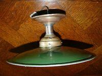 Rarität Original  Jugendstil Email Lampe Deckenlampe Schusterlampe grün ca.1920