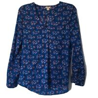 J Crew Factory Womens Size XS Top Blouse Pullover V Neck Long Sleeve Blue Floral