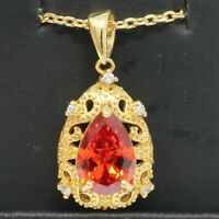 """Red Ruby Halo Pendant Necklace 18"""" Chain 14K Yellow Gold Plated Jewelry Gift"""