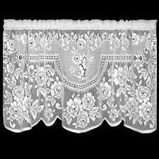 """Heritage Lace White VICTORIAN ROSE Window Tier 30""""L"""
