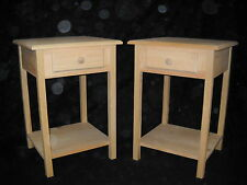 Set of 2 unfinished Pine End Table Night Stand w/Beveled Edge and shelf