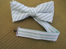 NEW  BOYS/TEEN BOW TIES GREEN/WHITE SEERSUCKER BANDED BOW/USAMADE