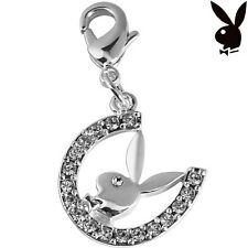 Playboy Charm Horseshoe Bunny Swarovski Crystals Lobster Clasp Clip On RARE HTF