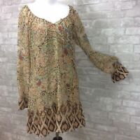 American Rag Dress Small Tan Mixed Paisley Print 2 Piece Peasant Tie Neck Boho