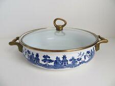 Vintage Dutch Oven Enamel Covered Pot Brass Handles Blue Design Enamelware Lid