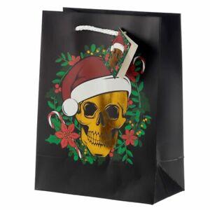 CHRISTMAS METALIC SKULL GIFT BAG